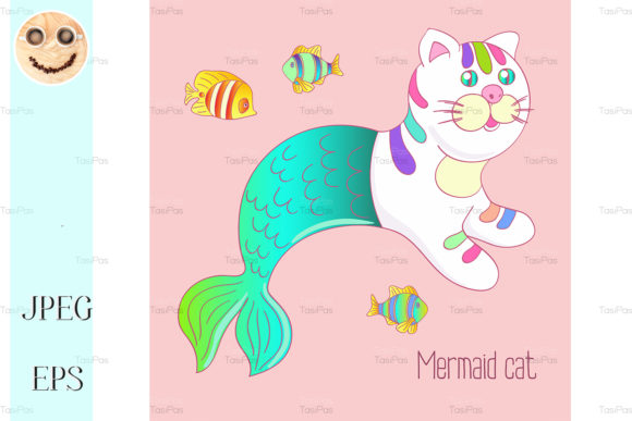 Print on Demand: Cute Mermaid Cat Purrmaid Graphic Illustrations By TasiPas