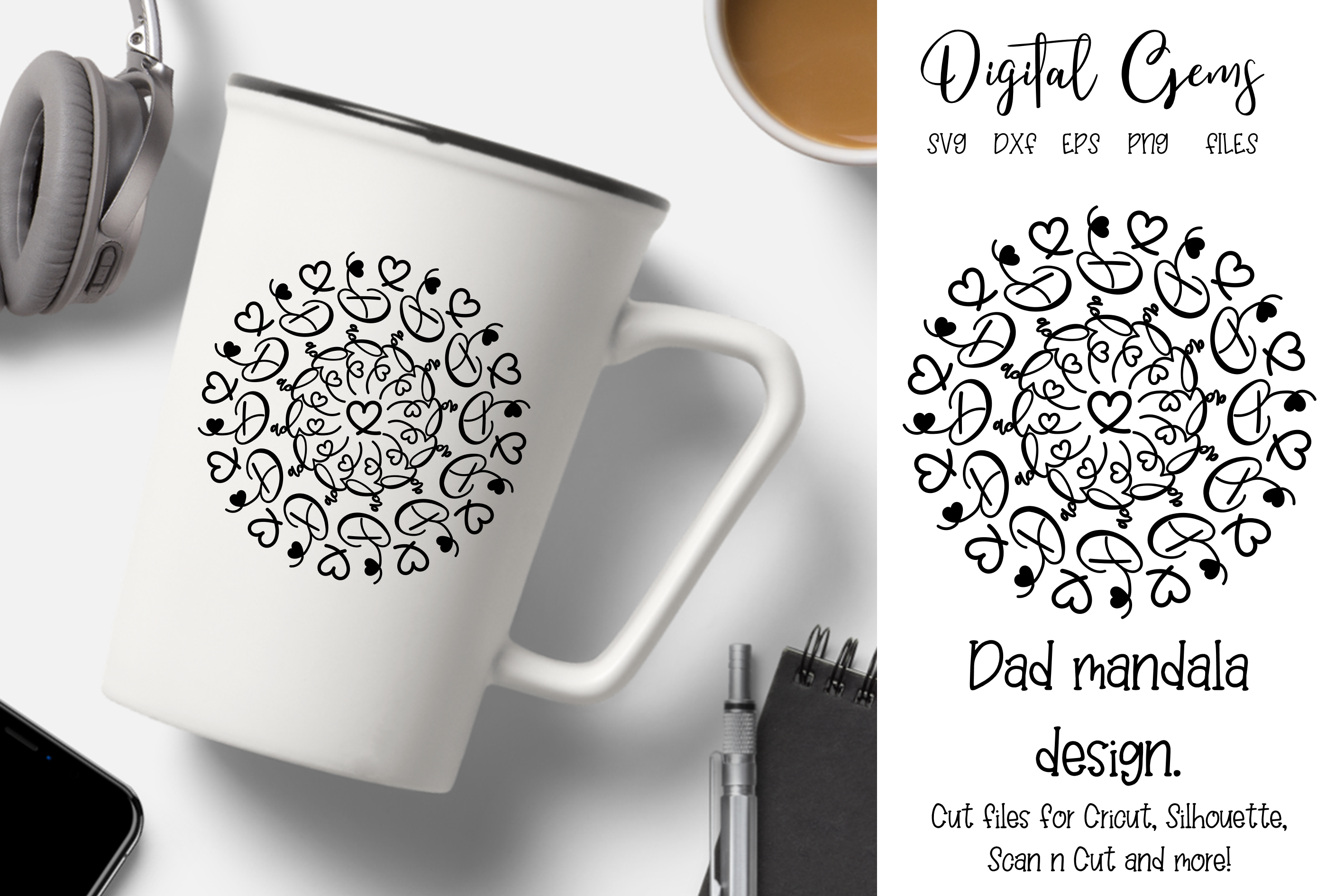 Download Free Dad Mandala Design Graphic By Digital Gems Creative Fabrica for Cricut Explore, Silhouette and other cutting machines.