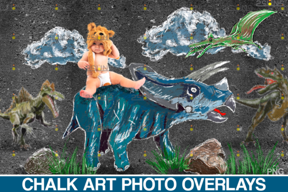 Dinosaurs Chalk Art Overlays Graphic Illustrations By 2SUNS