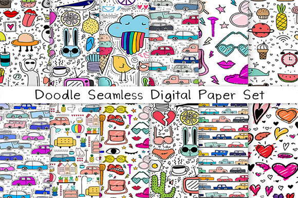Doodle Seamless Digital Paper Graphic Patterns By OneyWhyStudio