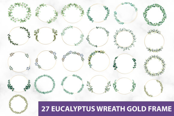 Print on Demand: Eucalyptus Wreath Gold Frame Clipart Graphic Illustrations By DesignItfor