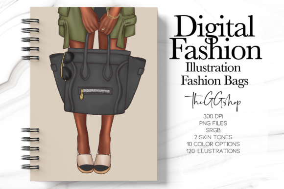 Print on Demand: Fashion Girl Bags Illustration Set Graphic Illustrations By TheGGShop