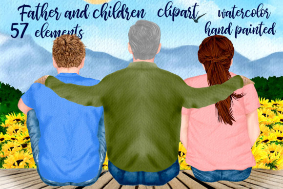 Father and Children Clipart Graphic Illustrations By LeCoqDesign