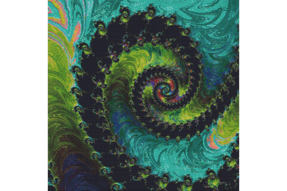 Print on Demand: Fractal Cross Stitch Pattern - Green Graphic Cross Stitch Patterns By StitchX Designs