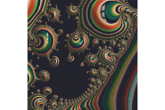 Print on Demand: Fractal Cross Stitch Pattern - Rainbow Graphic Cross Stitch Patterns By StitchX Designs