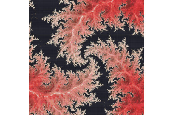 Print on Demand: Fractal Cross Stitch Pattern - Red Graphic Cross Stitch Patterns By StitchX Designs