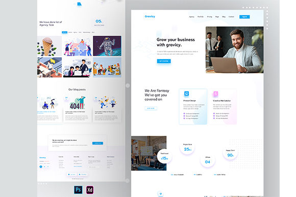Gravicy - Agency Landing Page Graphic UX and UI Kits By artgalaxy
