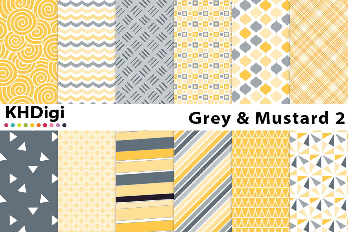 Download Free Grey Mustard 2 Digital Paper Graphic By Khdigi Creative Fabrica for Cricut Explore, Silhouette and other cutting machines.