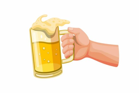 Print on Demand: Hand Holding Beer in Glass Mug Vector Graphic Illustrations By aryo.hadi