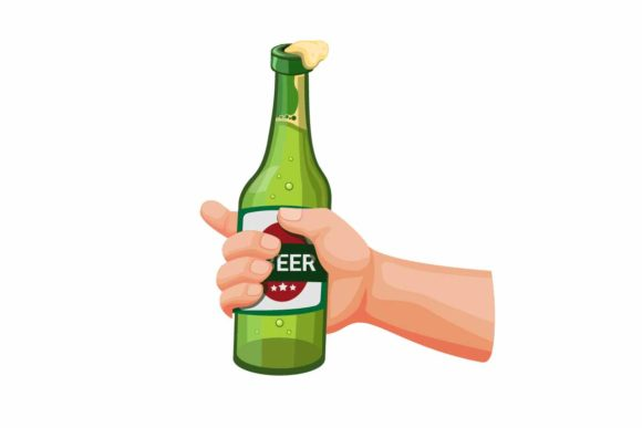 Print on Demand: Hand Holding Bottle Glass Beer Vector Graphic Illustrations By aryo.hadi