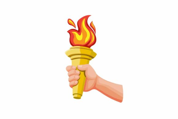 Download Free Hand Holding Golden Torch With Fire Icon Graphic By Aryo Hadi for Cricut Explore, Silhouette and other cutting machines.