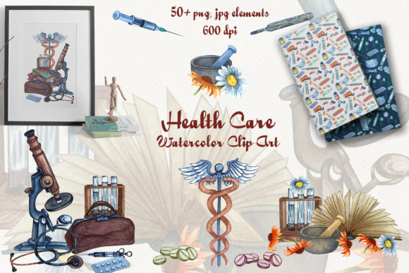 Health Care Watercolor Clip Art Graphic Illustrations By BarvArt