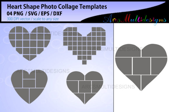 Download Free Heart Shape Photo Collage Template Graphic By Arcs Multidesigns for Cricut Explore, Silhouette and other cutting machines.