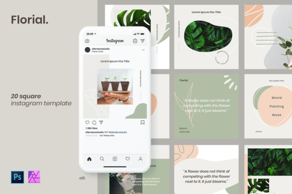 Download Free Instagram Template Florial Graphic By Alterdecostudio for Cricut Explore, Silhouette and other cutting machines.