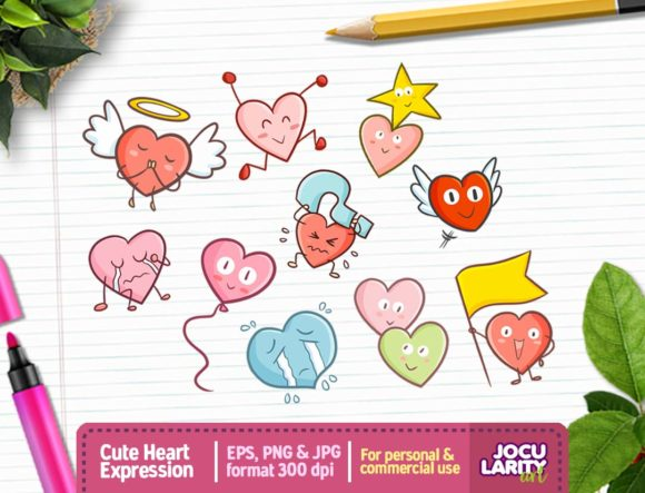 Download Free Kawaii Heart Face Clipart Graphic By Jocularityart Creative for Cricut Explore, Silhouette and other cutting machines.