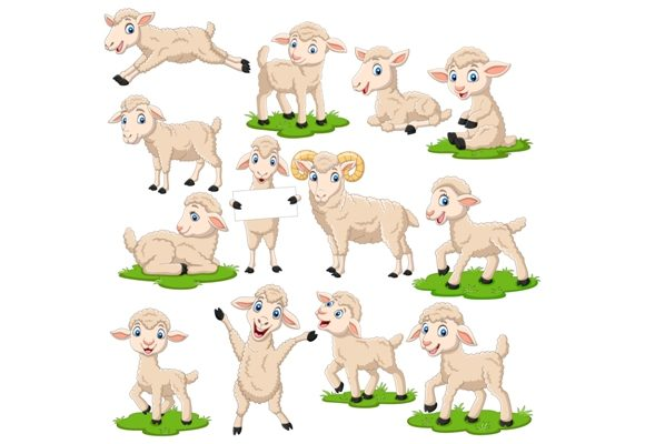 Lamb Character Clip Art Set Graphic Graphic Illustrations By tigatelusiji