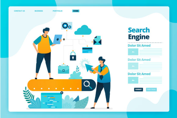 Print on Demand: Landing Page of Search Engine Analysis Graphic Graphic Templates By setiawanarief111