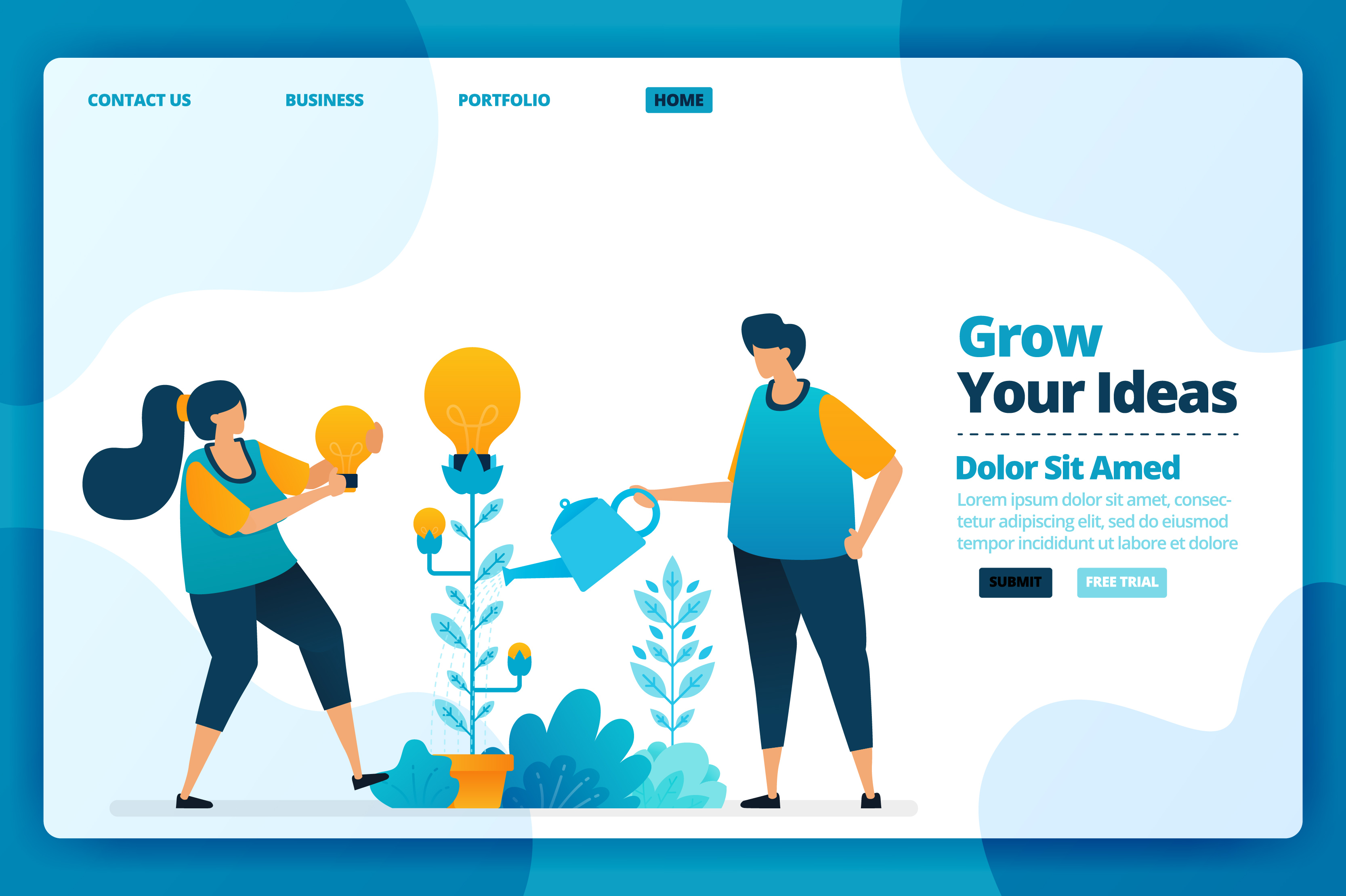 Download Free Landing Page Of Growing Your Idea Graphic By Setiawanarief111 for Cricut Explore, Silhouette and other cutting machines.