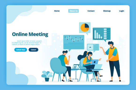 Download Free Landing Page Of Online Meeting Graphic By Setiawanarief111 for Cricut Explore, Silhouette and other cutting machines.