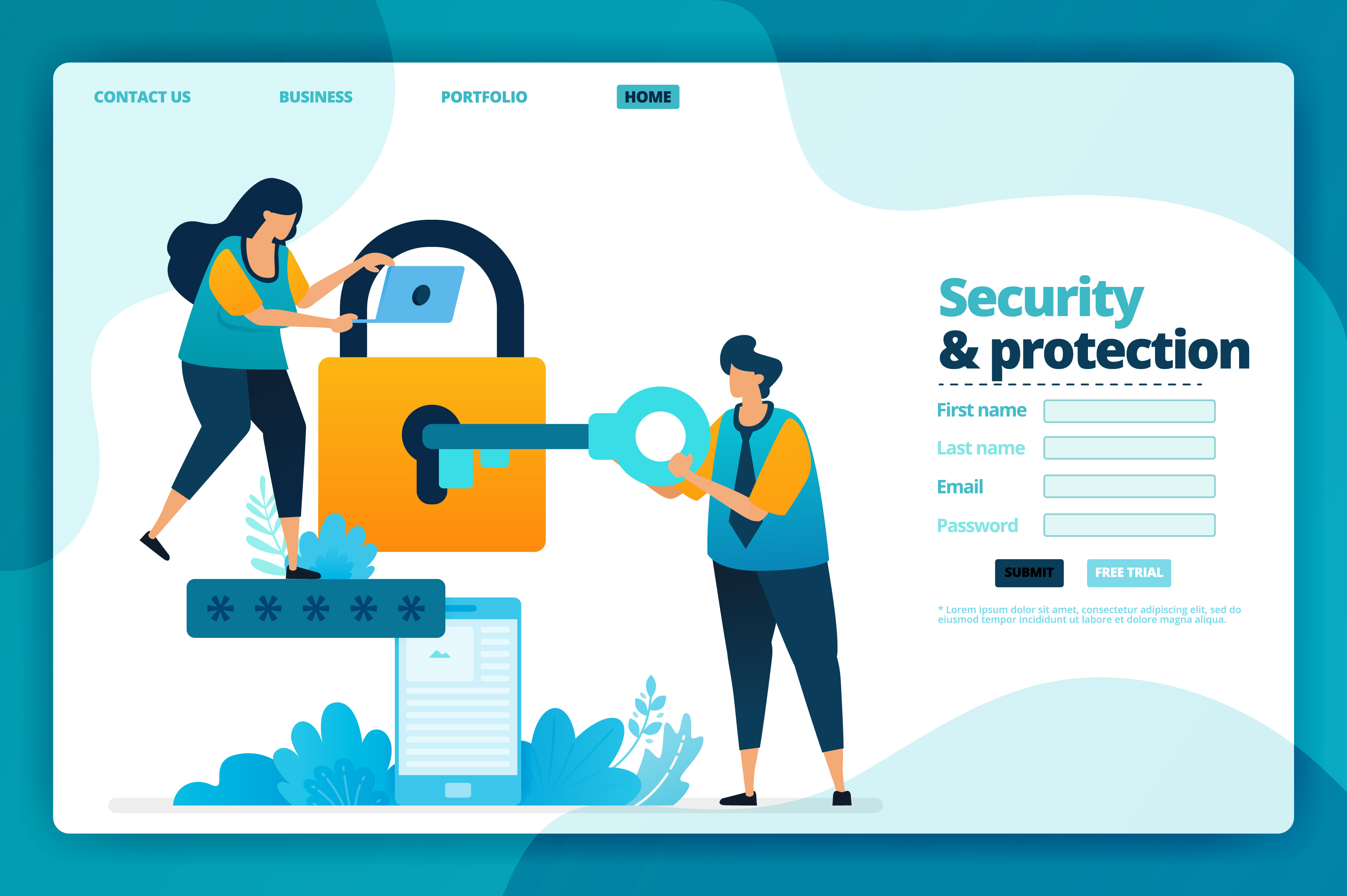 Download Free Landing Page Of Security And Protection Graphic By for Cricut Explore, Silhouette and other cutting machines.