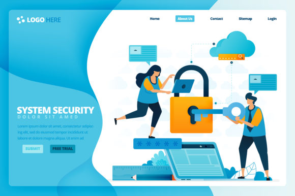 Print on Demand: Landing Page of Security and Protection Graphic Graphic Templates By setiawanarief111