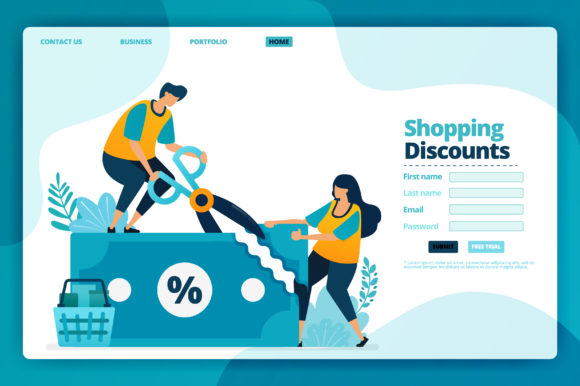 Download Free Landing Page Of Shopping Discounts Graphic By Setiawanarief111 for Cricut Explore, Silhouette and other cutting machines.