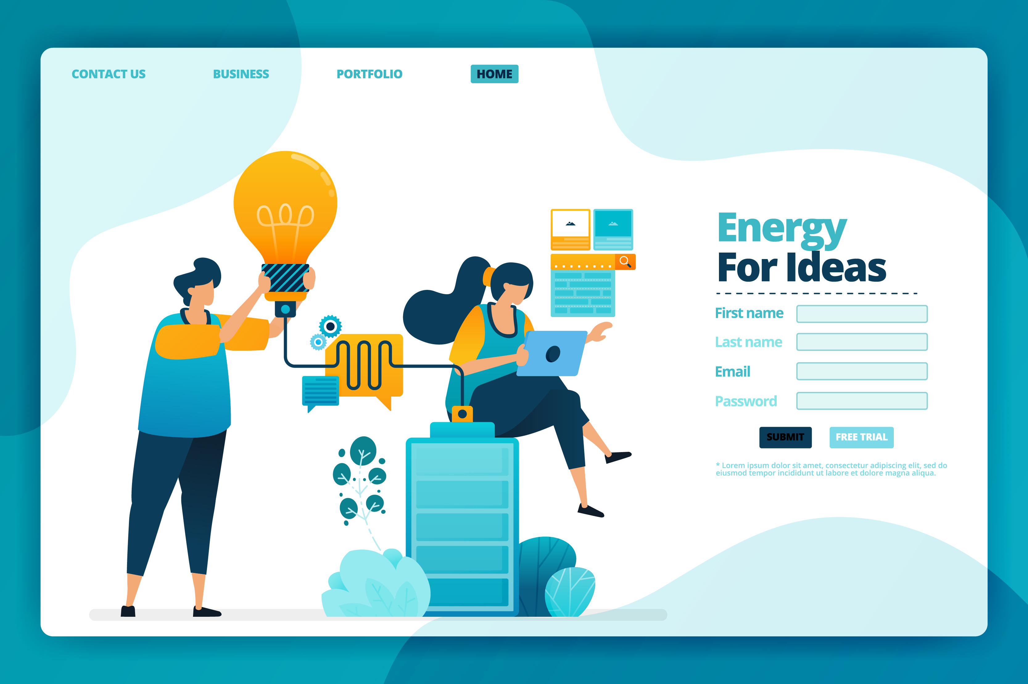 Download Free Landing Page Vector Of Energy For Ideas Graphic By Setiawanarief111 Creative Fabrica for Cricut Explore, Silhouette and other cutting machines.