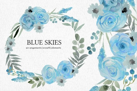 Print on Demand: Light Blue Floral Watercolor Clipart Set Graphic Illustrations By roselocket