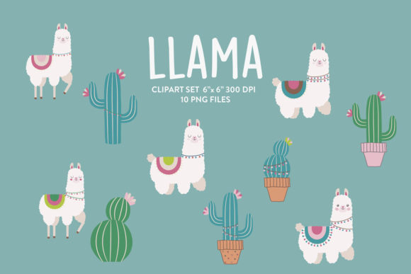 Download Free Llama Clipart Cactus Clip Art Set Graphic By Nina Prints for Cricut Explore, Silhouette and other cutting machines.
