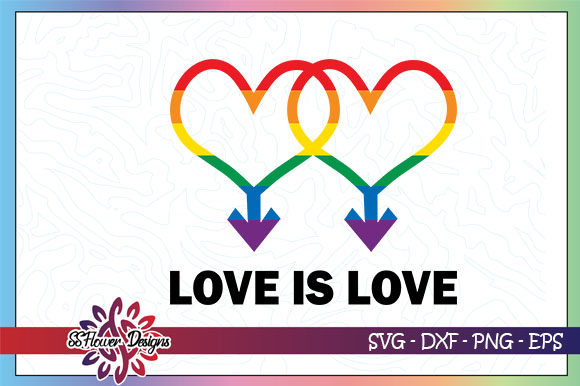 Download Free Love Is Love Rainbow Heart Graphic By Ssflower Creative Fabrica for Cricut Explore, Silhouette and other cutting machines.