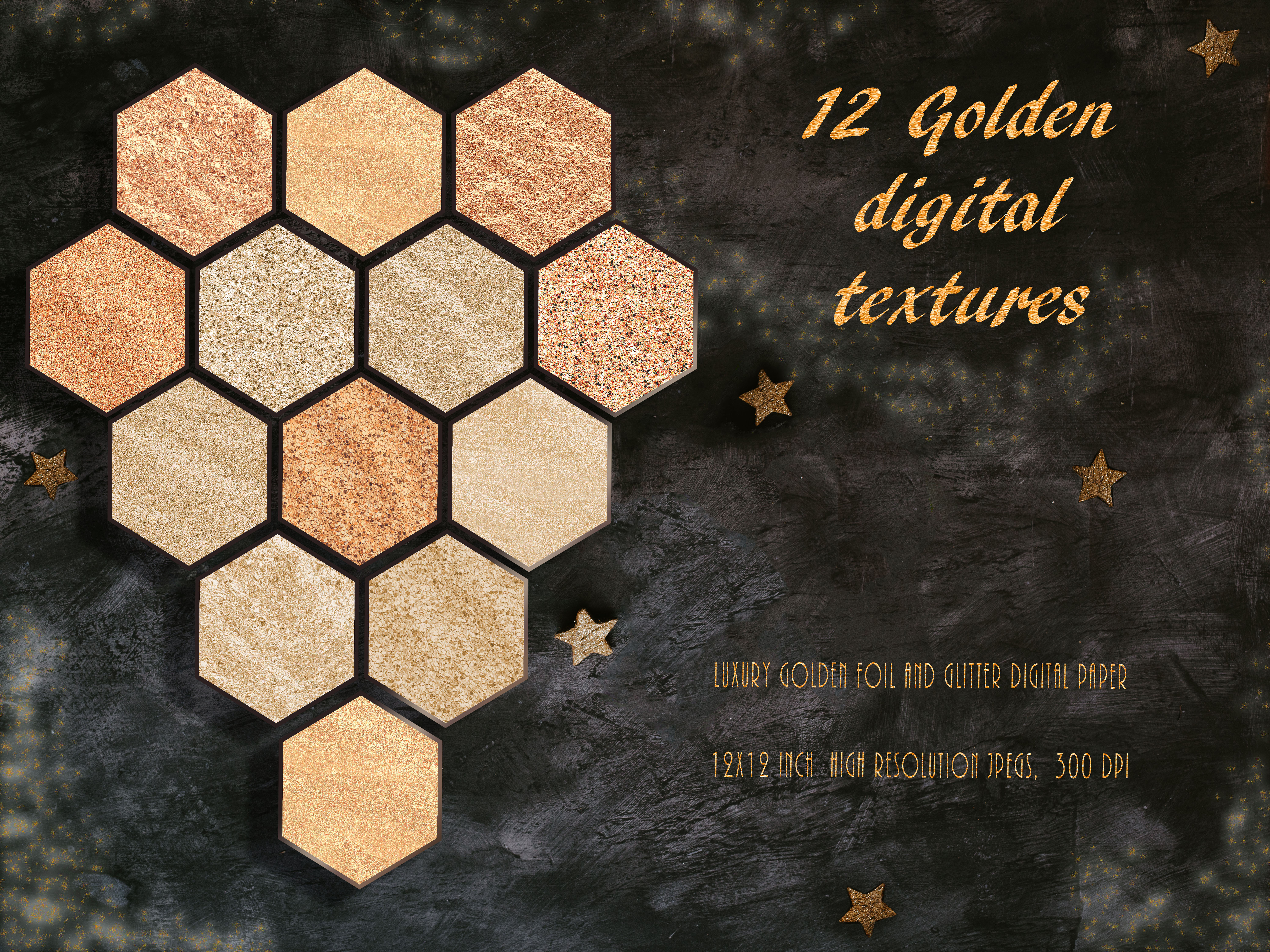 Download Free Luxury Metallic Gold Digital Paper Set Graphic By Liquid for Cricut Explore, Silhouette and other cutting machines.