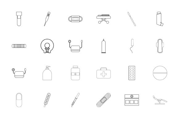 Print on Demand: Medical Objects Black Color Set Outline Graphic Icons By magistr0505