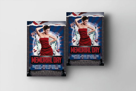 Download Free Memorial Day Flyer Template 2 Graphic By Ciusan Creative Fabrica for Cricut Explore, Silhouette and other cutting machines.