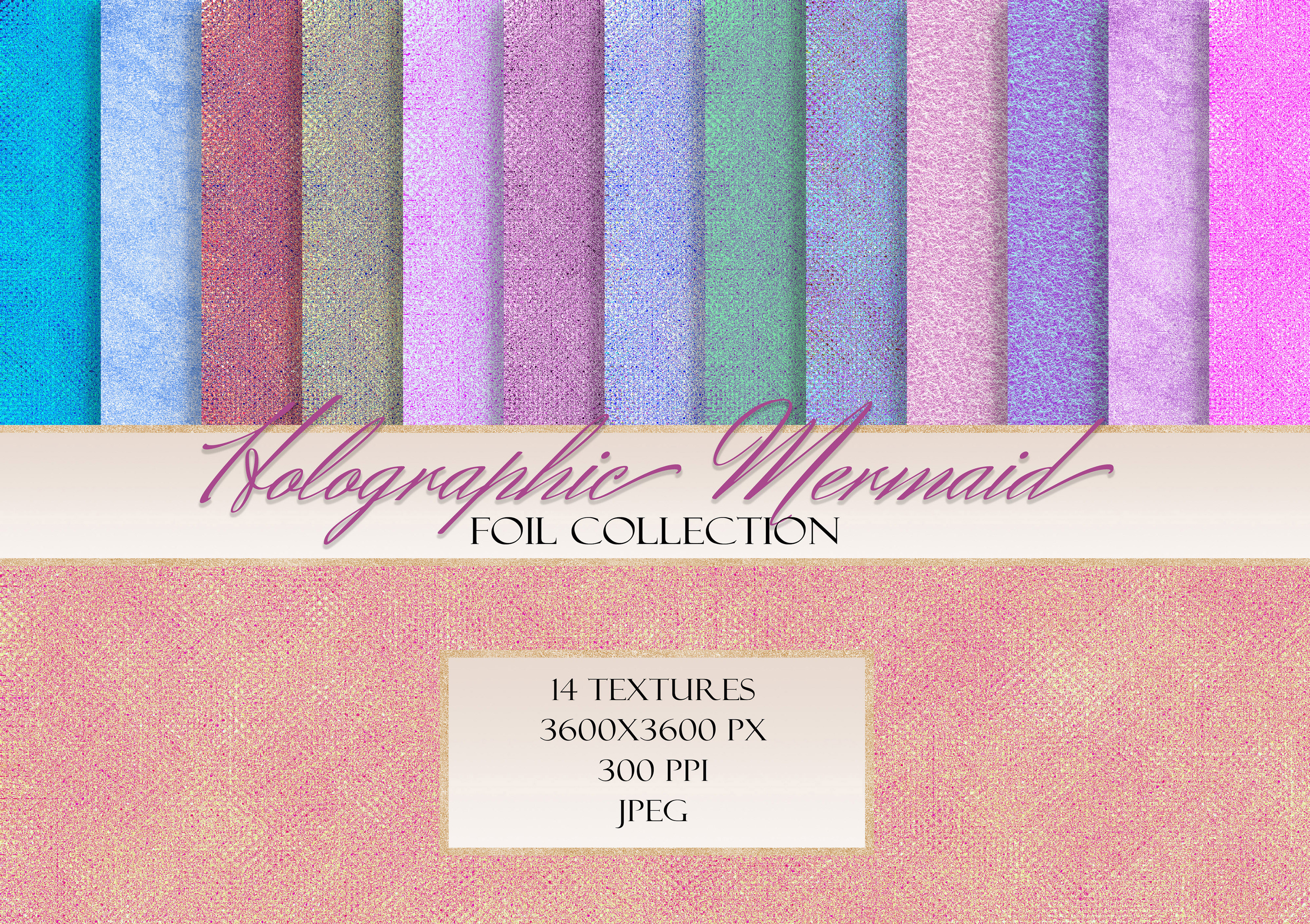 Download Free Mermaid Holographic Iridescent Textures Graphic By Liquid for Cricut Explore, Silhouette and other cutting machines.