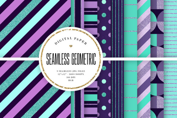 Print on Demand: Mint & Lavender Colors Tileable Patterns Graphic Patterns By Sabina Leja