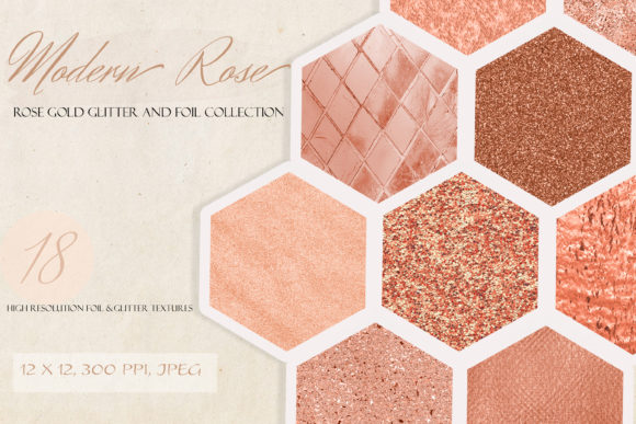 Modern Rose Gold Glitter and Foil Set Graphic Textures By liquid amethyst art
