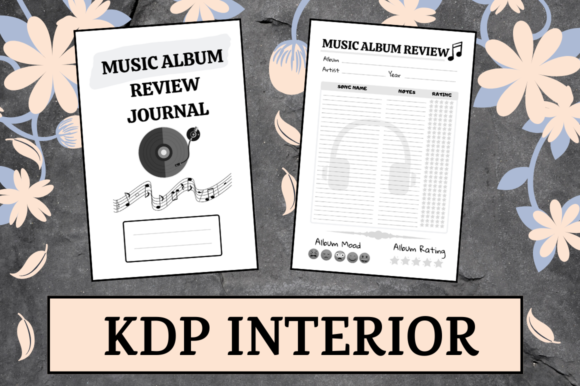 Download Free Music Album Review Journal Kdp Interior Graphic By Hungry Puppy for Cricut Explore, Silhouette and other cutting machines.