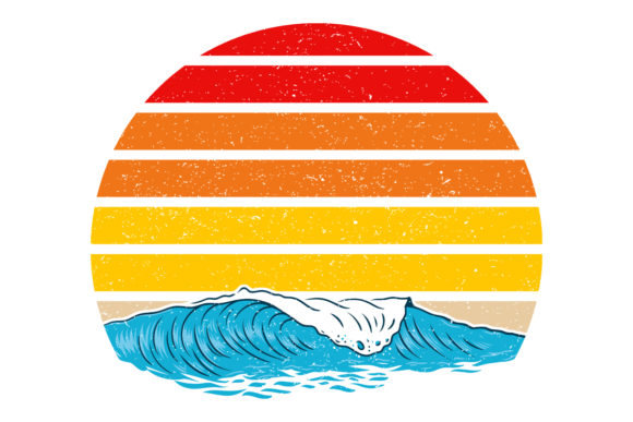 Print on Demand: Ocean Waves Retro Vintage Sunset Graphic Logos By SunandMoon