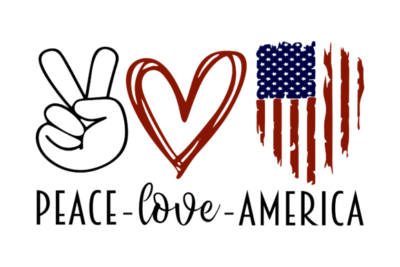 Peace Love America Cut File Graphic Crafts By Crafters Market Co - Image 3