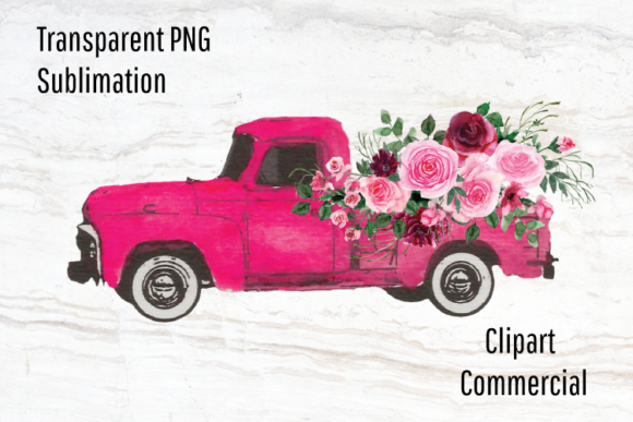 Print on Demand: Pink Vintage Truck Watercolor Flowers Graphic Illustrations By Blueberry Jam Design