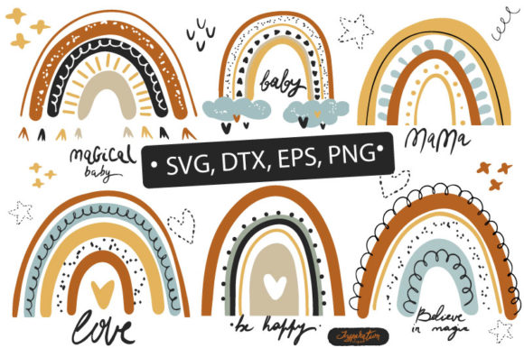 Download Free Rainbow Cute Clipart Graphic By Zolotovaillustrator Creative SVG Cut Files