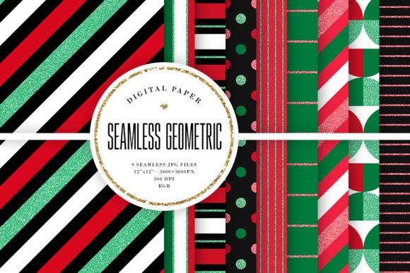 Print on Demand: Red & Green Seamless Geometric Patterns Graphic Backgrounds By Sabina Leja