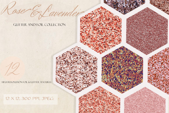 Rose Gold & Lavender Glitter Texture Kit Graphic Textures By liquid amethyst art