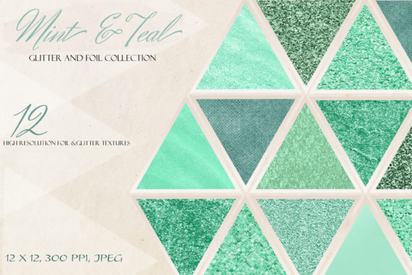 Set of Mint & Teal Glitter Textures Graphic Textures By liquid amethyst art