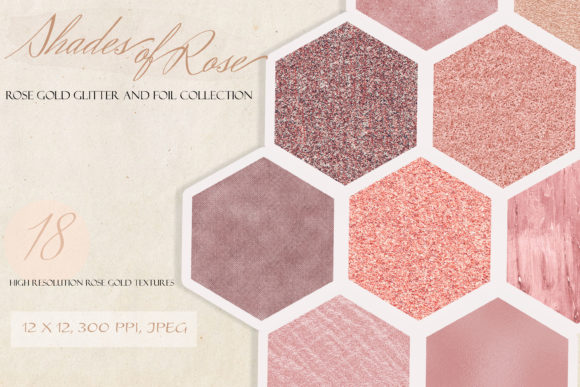 Shades of Rose Gold Glitter Textures Graphic Textures By liquid amethyst art