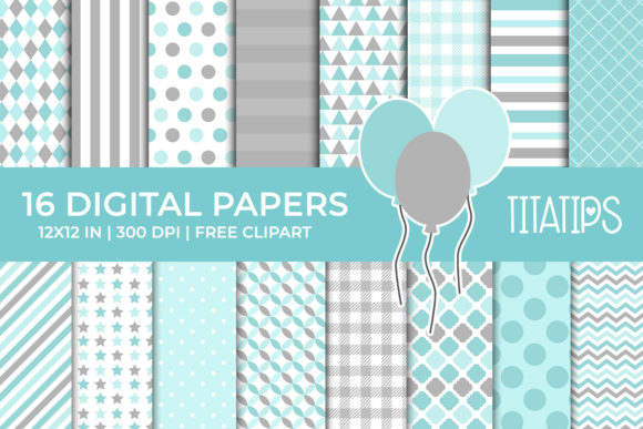Download Free Soft Blue And Gray Digital Papers Set Graphic By Titatips for Cricut Explore, Silhouette and other cutting machines.