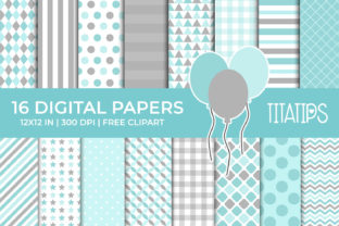Soft Blue and Gray Digital Papers Set Graphic Backgrounds By TitaTips