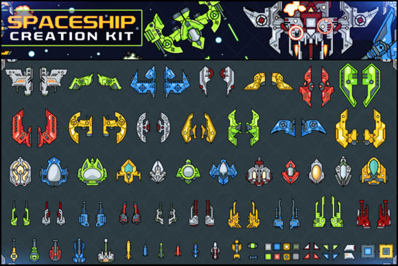 Download Free Spaceship Creation Kit Game Assets Graphic By Pixaroma for Cricut Explore, Silhouette and other cutting machines.