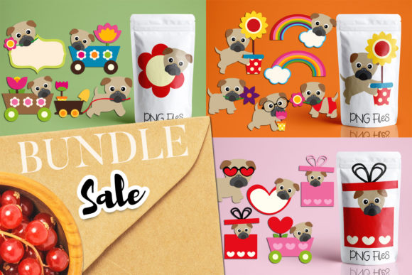 Print on Demand: Spring Pug Dog Bundle Graphic Illustrations By Revidevi