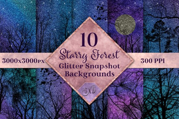 Print on Demand: Starry Forest Glitter Backgrounds Set Graphic Backgrounds By SapphireXDesigns